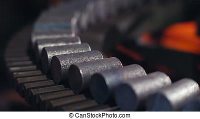 Forging steel machine inside industrial plant