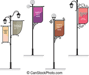 wrought-iron street lamps with a sign for advertising, the vector