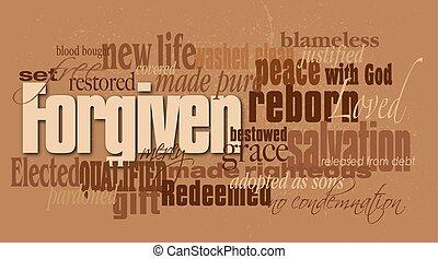 forgiven, cristão, palavra, montagem
