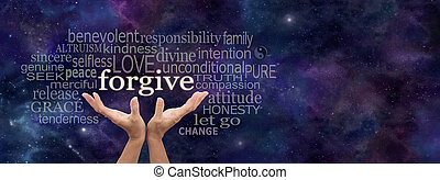 Female open palm hands on a panoramic deep space dark blue background reaching up to the word Forgive above surrounded by a relevant word cloud and copy space on right side