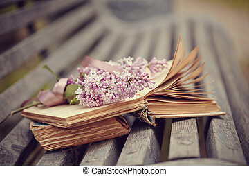 Forgotten books and branch of a lilac on a bench.