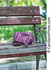 Forgotten Dorothy bag in a park