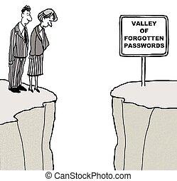 Forgotten Passwords - Business cartoon of two businesspeople...