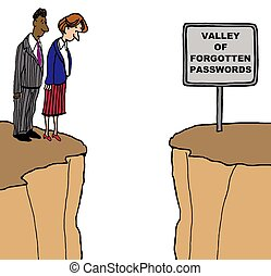 Forgotten Passwords - Business cartoon showing the 'valley...