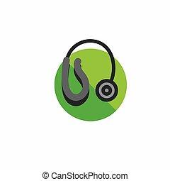 forhør hjælpemiddel, ikon, hos, wraparound, øre, tråd