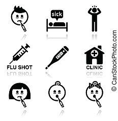 forkølelse, flu, syg folk, vektor, iconerne