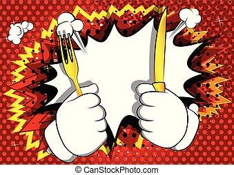 fork., の上, 手の 保有物, 漫画, ナイフ