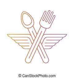 Fork ad spoon crossed with wings icon and logo - Food...