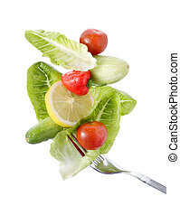healthy food - fork and a lot of vegetables, healthy food
