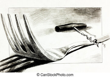 Fork and corkscrew - Original pencil or drawing charcoal,...
