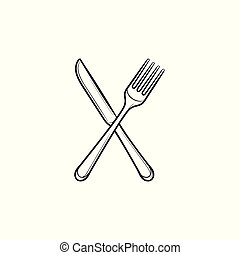 Fork and knife hand drawn sketch icon.