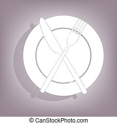 Fork and Knife icon with shadow