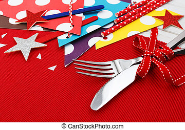 Fork and knife on table for party