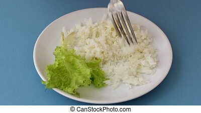Fork and plate with rice and lettuce - From above crumbly...