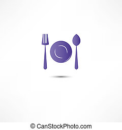Fork And Spoon And Plate Icon