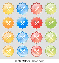 Fork and spoon crosswise, Cutlery, Eat icon sign. Big set of 16 colorful modern buttons for your design. Vector
