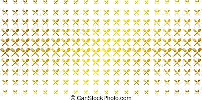 Fork And Spoon Golden Halftone Pattern