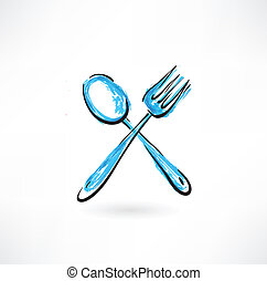 fork and spoon grunge icon