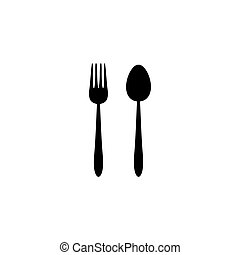Fork and spoon icon, vector, flat