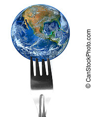 fork and the earth ,including elements furnished by NASA