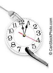 lunch time, dinner time - fork and wall clock with white...