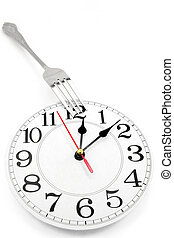lunch time - fork and wall clock with white background,...