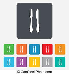 fork., bestek, meldingsbord, mes, icon., eten, symbool.