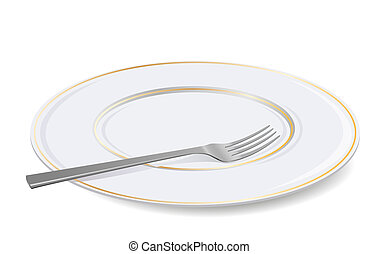fork., blanco, vector, placa