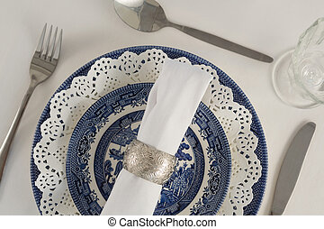 """""""Fork, butter knife, spoon, napkin and lace placemat"""" -..."""