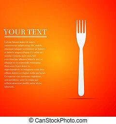 Fork flat icon on orange background. Vector Illustration