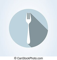 fork flat style. icon isolated on white background. Vector illustration