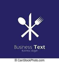 fork-, icônes, résumé, &, cuillère, symboles, vecteur, couteau, graphic.