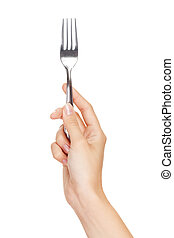 Fork in hand isolated on white background