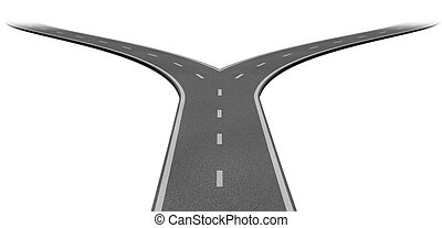 Fork in the road or highway business metaphor representing ...