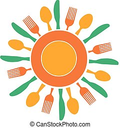 fork, knife and plate organized like yellow sun, vector illustration