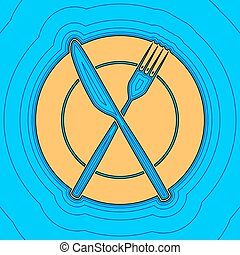 Fork, Knife and Plate sign. Vector. Sand color icon with black contour and equidistant blue contours like field at sky blue background. Like waves on map - island in ocean or sea.