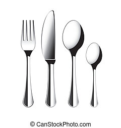 Fork, knife and spoon cutlery isolated vector