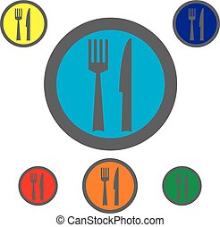 Fork, knife and spoon icons. Cutlery symbol.