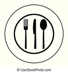 Fork, knife and spoon on plate background