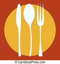 fork knife and spoon silhouettes on plate background