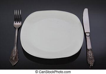 Fork, knife, plate.
