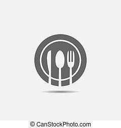 Fork, knife, spoon and plate icon. Restaurant or cafe symbol, Vector illustration
