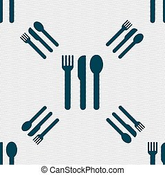 fork, knife, spoon icon sign. Seamless pattern with geometric texture. Vector