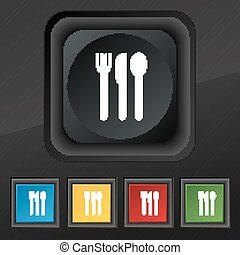fork, knife, spoon icon symbol. Set of five colorful, stylish buttons on black texture for your design. Vector