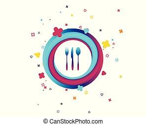 Fork, knife, tablespoon. Cutlery set.