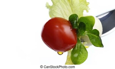 fork lettuce salad tomato oil - fork lettuce salad leaves,...