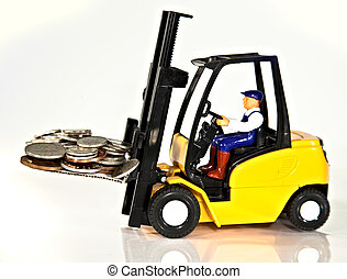 Fork lift and money - A toy fork lift truck lifting a pallet...