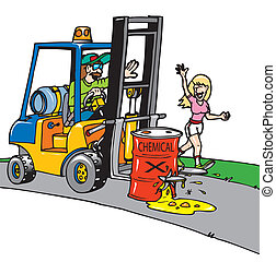 A forklift operator not paying attention looking a girl putting fork through drum