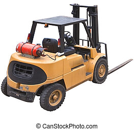 fork lift isolated from rear