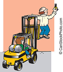 fork lift misuse - man standing on forklift changing light...